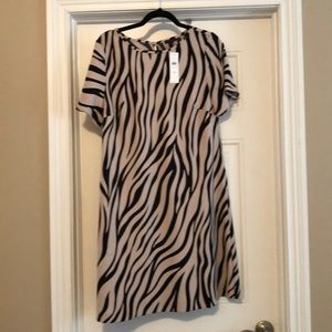 NWT Ann Taylor zebra tan and black print dress